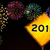 happy new year fireworks road sign stock photo © cienpies