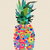 summer pineapple design with modern color shapes stock photo © cienpies