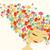 mooie · vrouw · abstract · bloemen · haren · illustratie · vlinder - stockfoto © cienpies