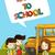 vissza · az · iskolába · oktatás · fiú · társasági · buborék · rajz - stock fotó © cienpies