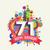 joyeux · anniversaire · année · carte · de · vœux · affiche · couleur · vingt - photo stock © cienpies