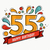 colorful happy birthday number 55 flat line design stock photo © cienpies