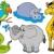 africaine · jungle · animaux · ensemble · illustration - photo stock © clairev