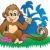 bonitinho · pequeno · macaco · sorrir · arte · animais - foto stock © clairev