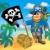 piraat · vlag · strand · kleur · illustratie · boom - stockfoto © clairev