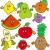 aranyos · dinoszauruszok · gyümölcsök · vektor · görögdinnye · alma - stock fotó © clairev