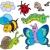 lagarta · desenho · animado · coleção · feliz · olhos · fundo - foto stock © clairev