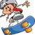 sorridente · adolescente · andar · de · skate · extremo · saltar - foto stock © clipartmascots