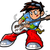 anime · guitarrista · estrela · do · rock · sorrir · cara - foto stock © ClipArtMascots