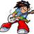 anime · manga · gitáros · rocksztár · mosoly · arc - stock fotó © ClipArtMascots