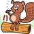 cartoon beaver on log stock photo © clipartmascots