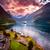 pôr · do · sol · mar · Noruega · ártico · costa · praia - foto stock © cookelma