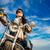 menina · sessão · motocicleta · jaqueta · de · couro · óculos · de · sol - foto stock © cookelma