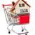 bevásárlókocsi · ház · kék · otthon · vásárlás · kosár - stock fotó © cookelma