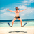 hombre · saltar · playa · feliz · agua - foto stock © cookelma