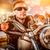 motocicleta · homem · jaqueta · de · couro · óculos · de · sol - foto stock © cookelma