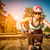 jonge · vrouw · paardrijden · fiets · park · vrouw · bos - stockfoto © cookelma