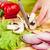 vág · gomba · champignon · kezek · asztal · zöld - stock fotó © cookelma