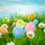 díszített · húsvéti · tojások · fű · kék · ég · égbolt · virág - stock fotó © cookelma