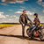 Bikers couple stands on the road stock photo © cookelma