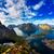 zeegezicht · bergen · panoramisch · zonsondergang · Geel - stockfoto © cookelma