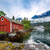 norway landscape the house on the shore of the fjord in the bac stock photo © cookelma