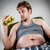 uomo · grasso · mangiare · hamburger · poltrona · stile - foto d'archivio © cookelma