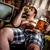 uomo · grasso · mangiare · hamburger · poltrona · alimentare - foto d'archivio © cookelma