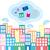 város · felhők · illusztráció · internet · épület · háttér - stock fotó © coroichi