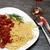 spagetti · makarna · şarap · domates · et · sos - stok fotoğraf © cosma