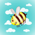 cartoon cute bees on sky with clouds vector illustration stock photo © cosveta