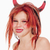 young girl in wig and horns posing as devil stock photo © courtyardpix