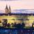 Prag · kale · akşam · karanlığı · Çek · Cumhuriyeti · kilise · ışık - stok fotoğraf © courtyardpix