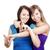 fiatal · nők · mosolyog · kettő · boldog · készít · gesztusok - stock fotó © courtyardpix
