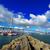 panorama · industriële · haven · container · kraan · schemering - stockfoto © cozyta