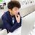 ernstig · student · huiswerk · bed · home · vrouw - stockfoto © cozyta