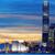 silueta · Hong · Kong · ciudad · puesta · de · sol · bandera · barco - foto stock © cozyta