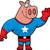 superhero pig waving stock photo © cthoman