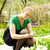 lány · tulipánok · tart · hatalmas · virágcsokor · piros - stock fotó © d13