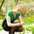 menina · tulipas · enorme · buquê · vermelho - foto stock © d13