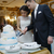 bride and groom cut the cake stock photo © d13
