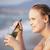 женщину · сидят · морем · вечеринка · пляж · стекла - Сток-фото © d13