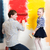 happy girl painting wall with father stock photo © d13