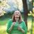 jovem · mulher · grávida · olhando · barriga · parque · sorridente - foto stock © d13