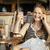 mulher · falante · móvel · mulher · atraente · relaxante · espreguiçadeira - foto stock © d13