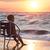 daddy · bambino · mare · tramonto · spiaggia · acqua - foto d'archivio © d13