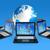 черный · портативного · компьютера · иконки · синий · ноутбука · аннотация - Сток-фото © daboost