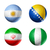 brazil world cup 2014 group f flags on soccer balls stock photo © daboost