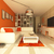 Beautiful interior of living room with orange walls and white furniture  stock photo © danilo_vuletic