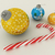 3D render of blue and gold holiday decoration baubles with candy cane on white background stock photo © danilo_vuletic